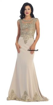 Hollywoodkleid Ballkleid Spitze Tüll Goldstickerei Meermaidkleid