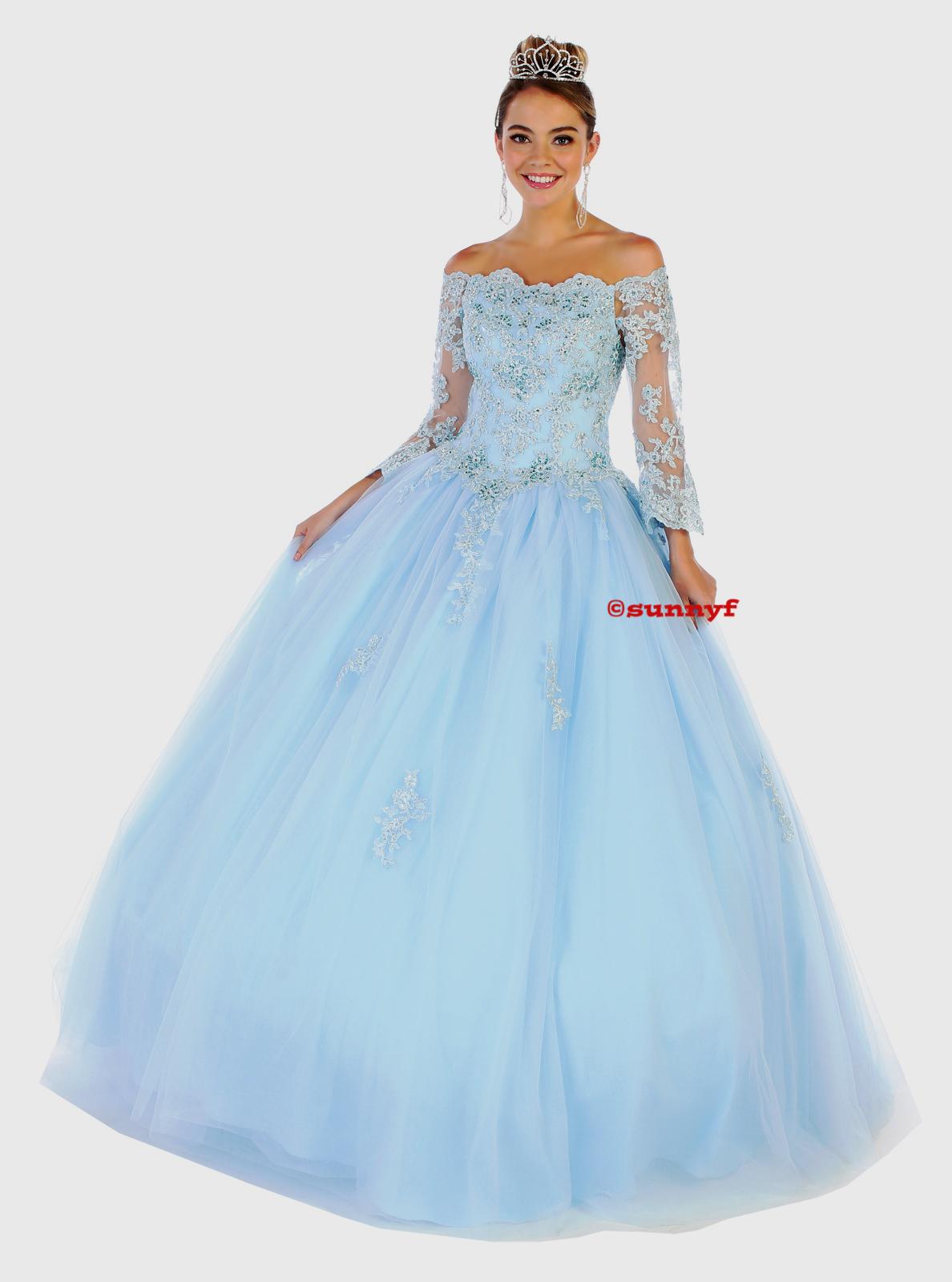 Abendkleid Ballkleid Silberbrautkleid Verlobungskleid Hochzeitskleid mit  Ärmeln hellblau