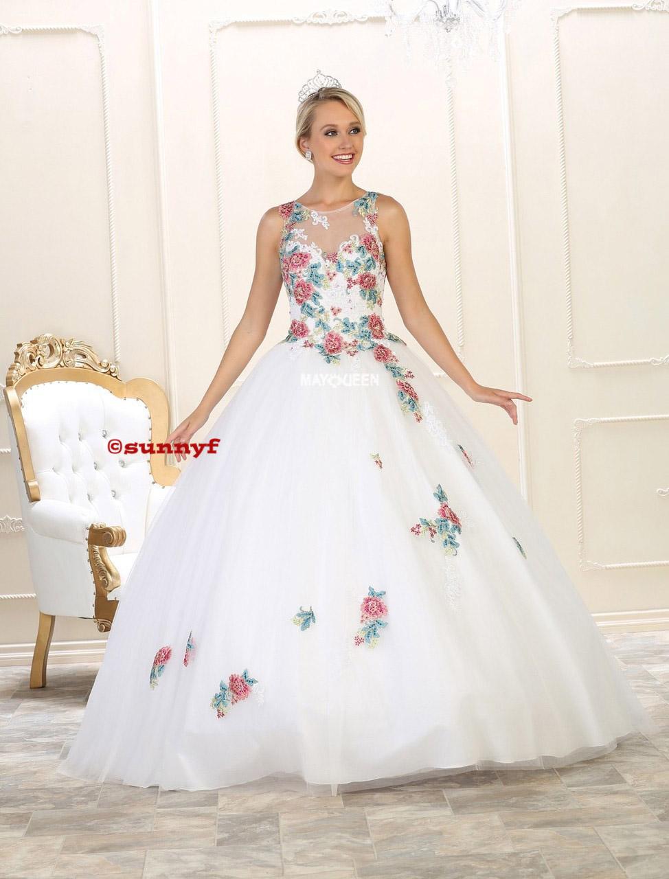 Hayden romantisches Brautkleid mit farbiger Blütenstickerei Schnürung auch  in grossen Grössen
