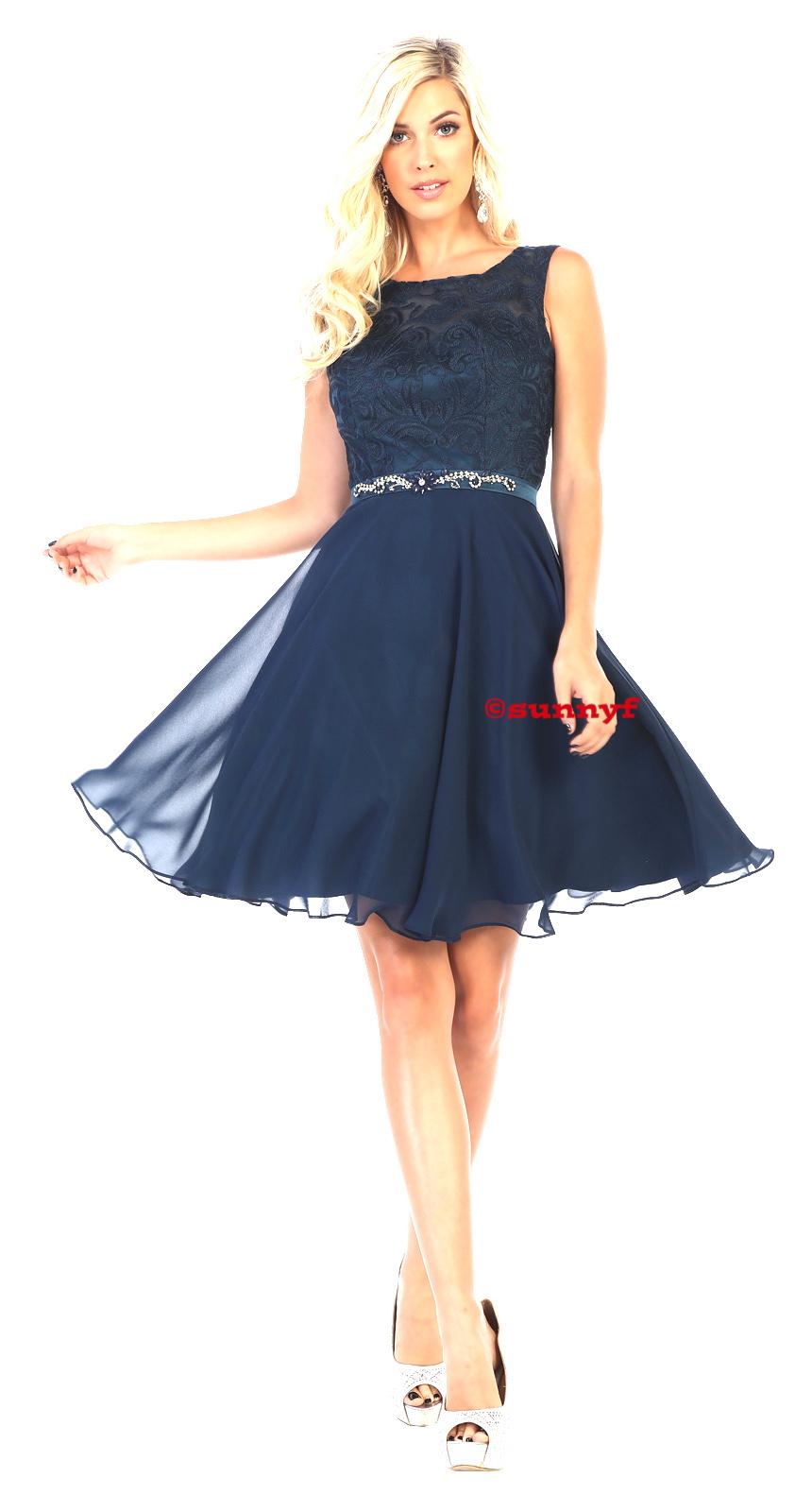 Cocktailkleid Konfirmationskleid mit Spitze und weitem Chiffonrock auch  grosse Grössen dunkelblau