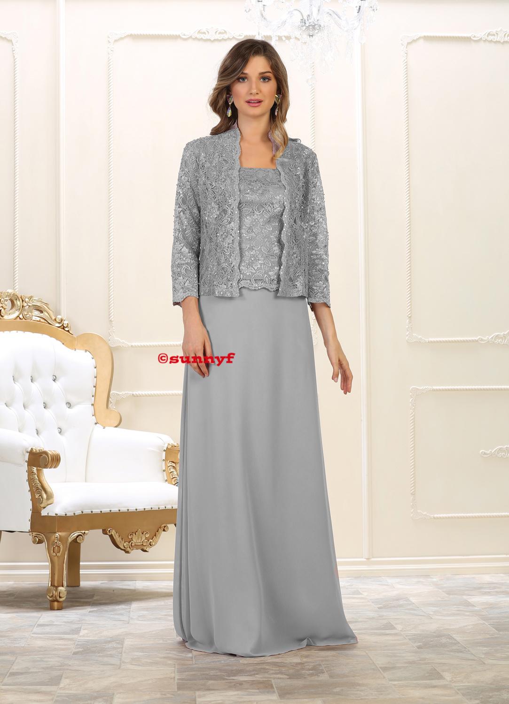 cheaper f2b70 a1760 Brautmutterkleid Abendkleider Grosse Grössen mit Jacke silber