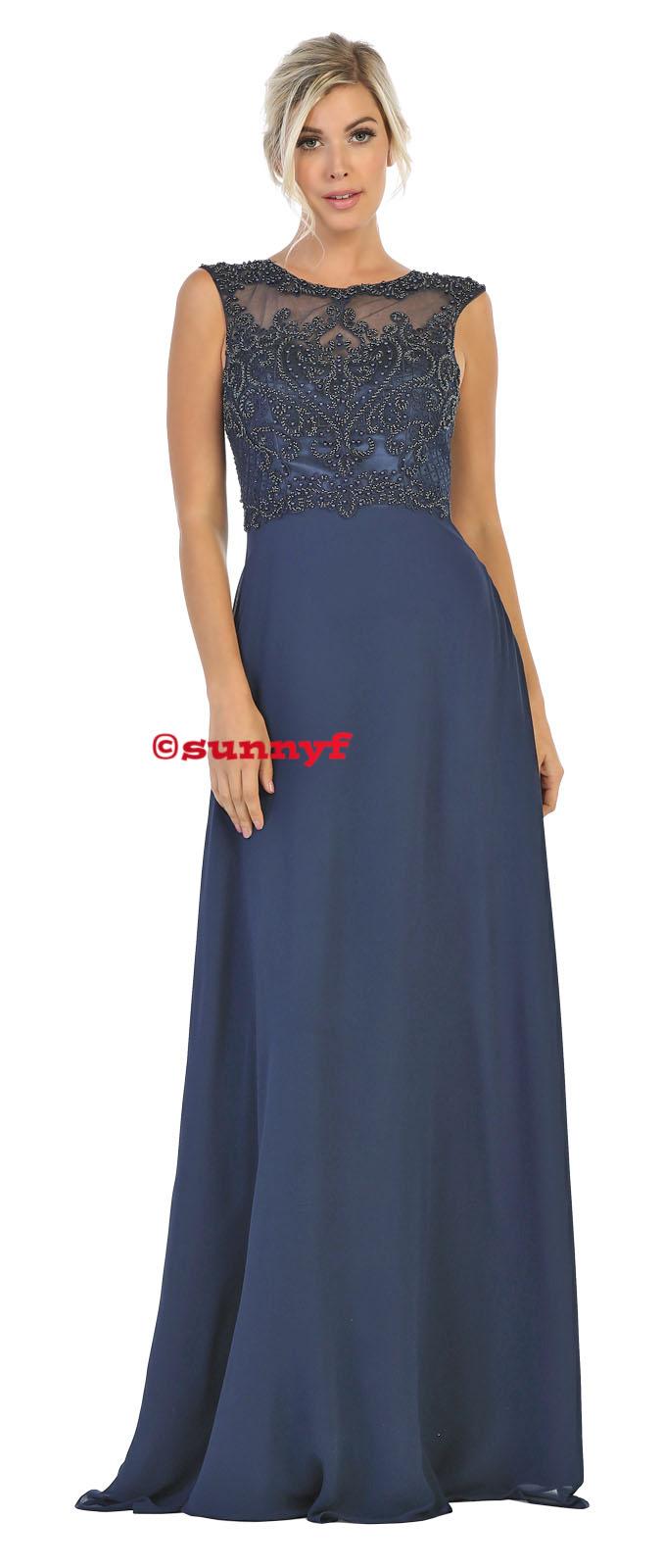 Abendkleid vorn und hinten hochgeschlossen Spitze Chiffon Perlenstickerei  ton-in-Ton dunkelblaue Kleider