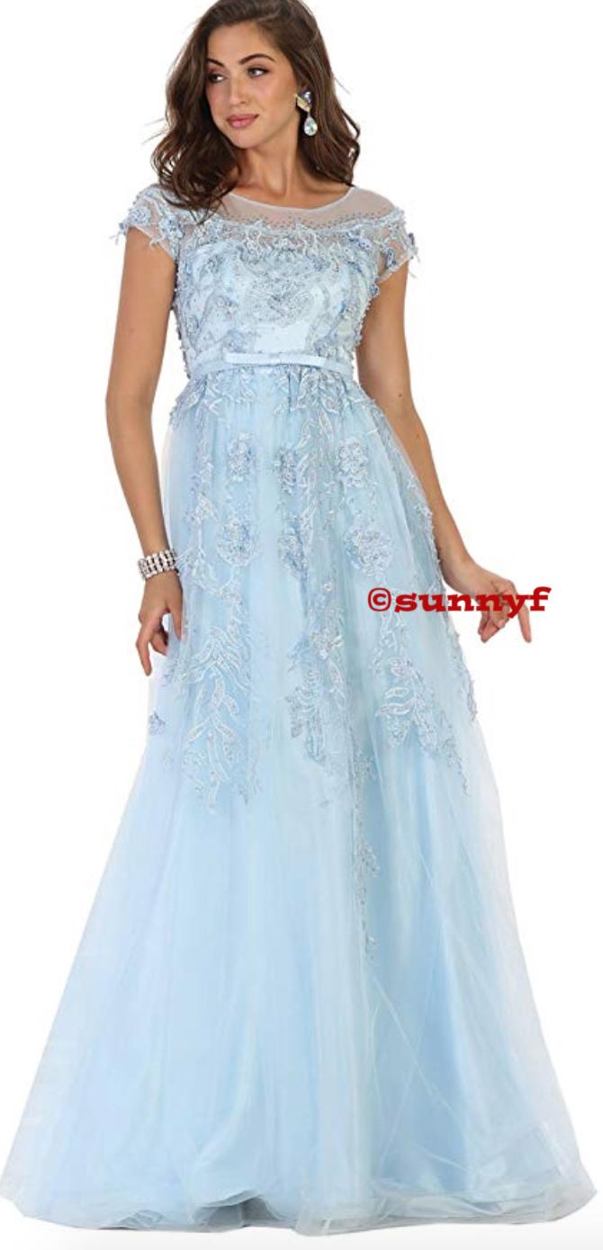 premium selection 480e9 76cd1 Abendkleid Ballkleid Tüllkleid mit Spitze und angeschnittenem Ärmel  Hochzeit Ball